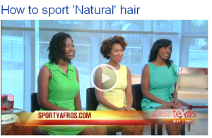 "Modeling ""healthy hair"" in light of a rigorous workout regimen on Good Morning Texas - May 2013"