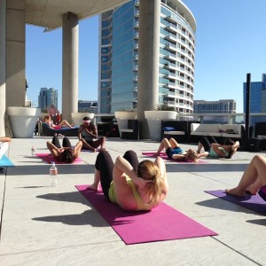 Teaching my 1st PiYo on the deck class - Summer 2013