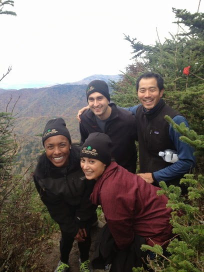 Enjoing a nice hike in Great Smoky Mountains - Nothing says true friendship like matching beanies