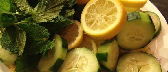 Detox Drink Ingredients: Water, Cucumber, Lemon & Mint Leaves